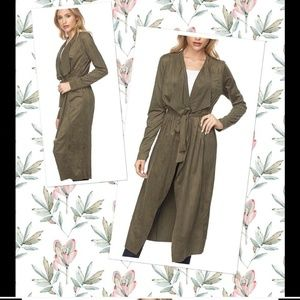 Jackets & Blazers - NWT  OLIVE FAUX SUEDE LONG SLEEVE JACKET
